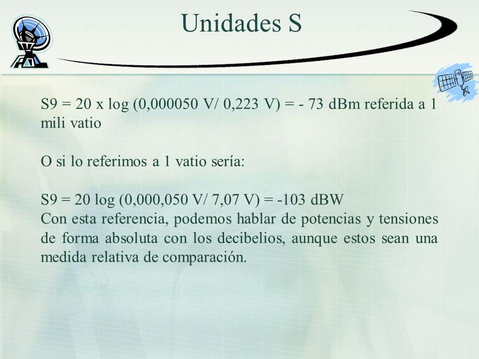 Unidades S S9 = 20 x log (0,000050 V/ 0,223 V) = - 73 dBm referida a 1 mili vatio O si lo referimos a 1 vatio sería: S9 = 20 log (0,000,050 V/ 7,07 V) = -103 dBW Con esta referencia, podemos hablar de potencias y tensiones de forma absoluta con los decibelios, aunque estos sean una medida relativa de comparación.