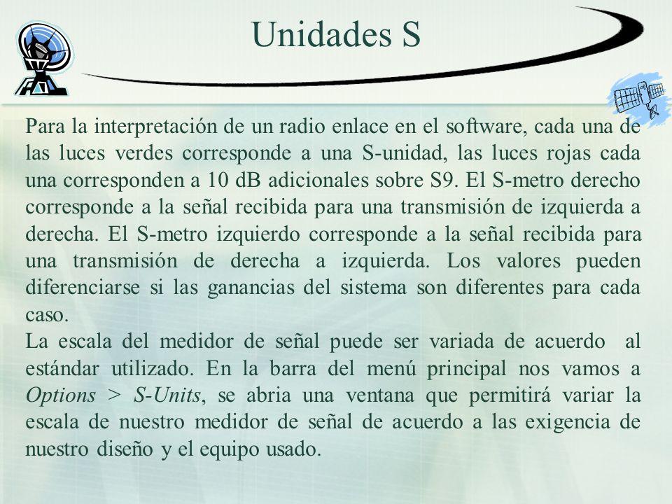 Unidades S Para la interpretación de un radio enlace en el software, cada una de las luces verdes corresponde a una S-unidad, las luces rojas cada una