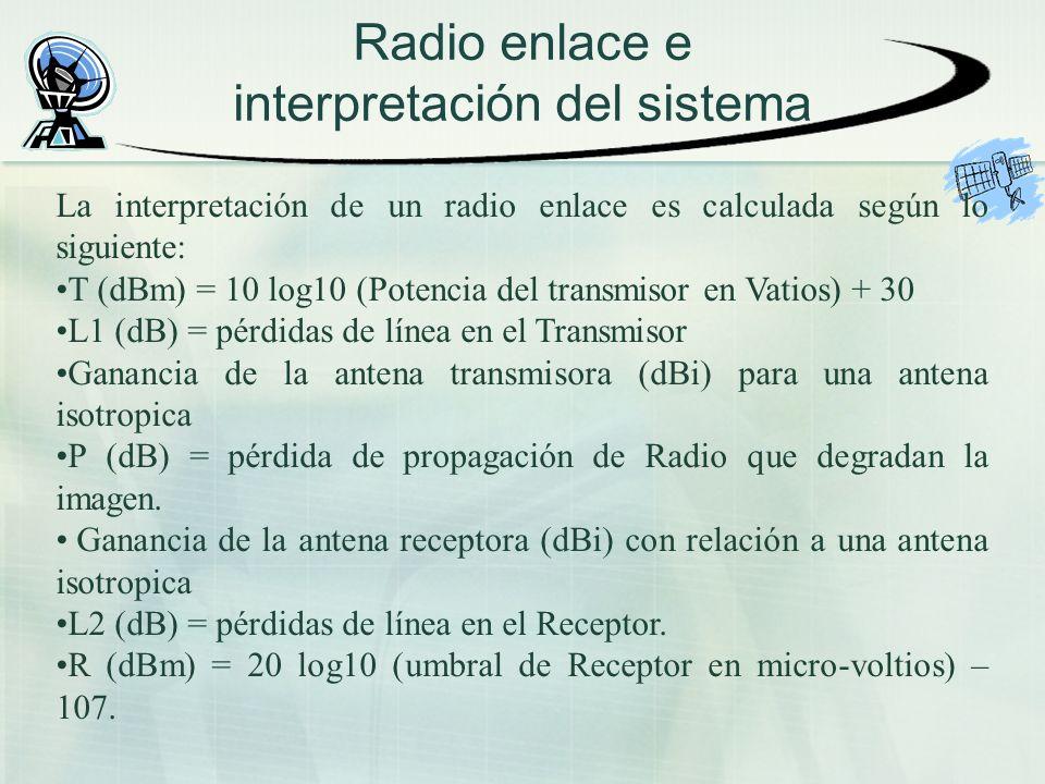 Radio enlace e interpretación del sistema La interpretación de un radio enlace es calculada según lo siguiente: T (dBm) = 10 log10 (Potencia del trans