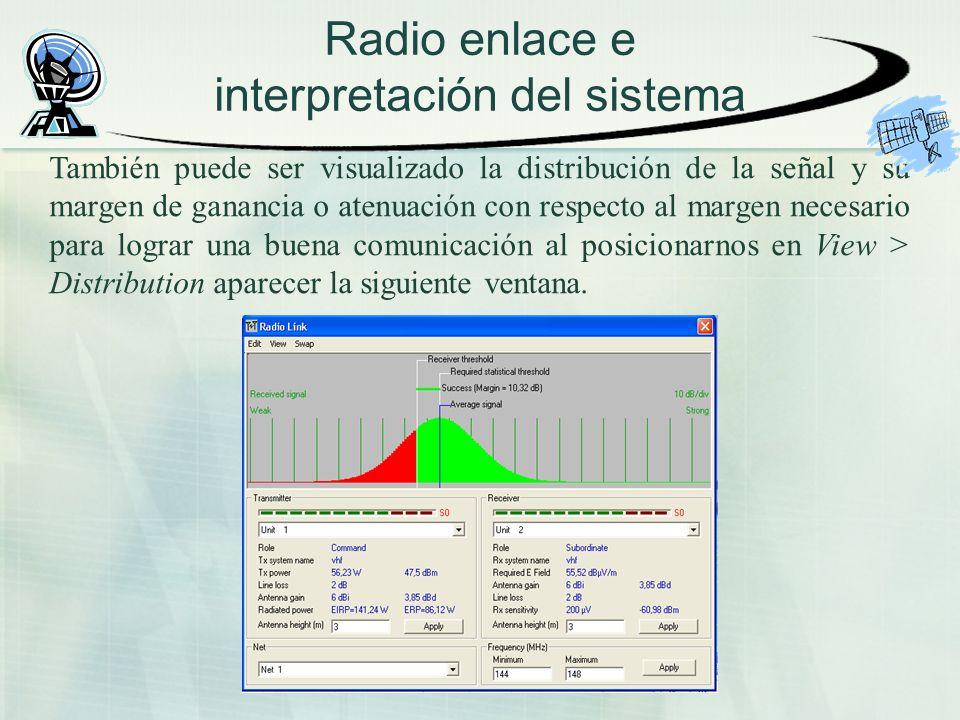 Radio enlace e interpretación del sistema También puede ser visualizado la distribución de la señal y su margen de ganancia o atenuación con respecto al margen necesario para lograr una buena comunicación al posicionarnos en View > Distribution aparecer la siguiente ventana.