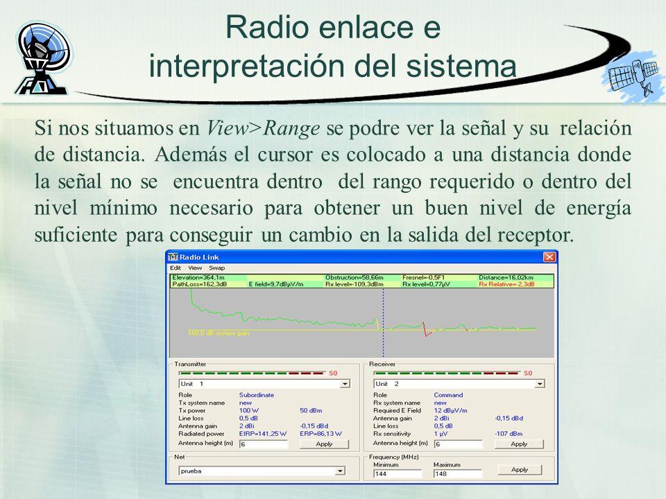 Radio enlace e interpretación del sistema Si nos situamos en View>Range se podre ver la señal y su relación de distancia. Además el cursor es colocado