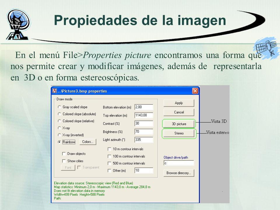 Propiedades de la imagen En el menú File>Properties picture encontramos una forma que nos permite crear y modificar imágenes, además de representarla en 3D o en forma estereoscópicas.