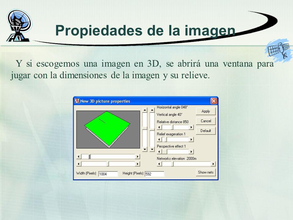 Propiedades de la imagen Y si escogemos una imagen en 3D, se abrirá una ventana para jugar con la dimensiones de la imagen y su relieve.