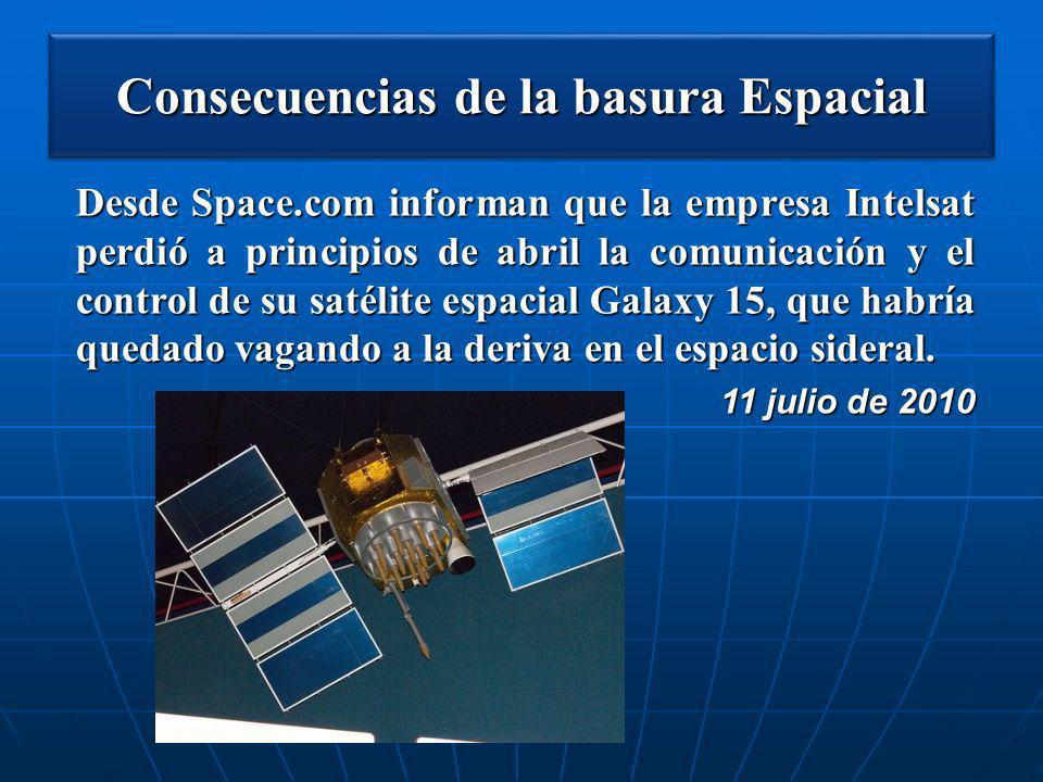 Consecuencias de la basura Espacial Desde Space.com informan que la empresa Intelsat perdió a principios de abril la comunicación y el control de su s