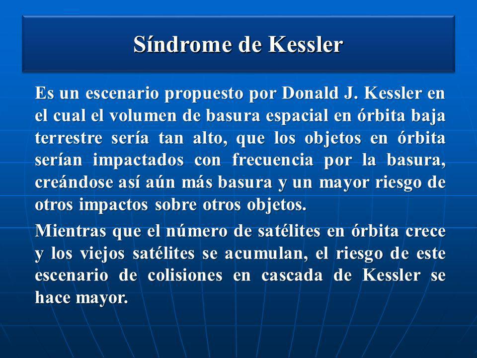 Síndrome de Kessler Es un escenario propuesto por Donald J. Kessler en el cual el volumen de basura espacial en órbita baja terrestre sería tan alto,