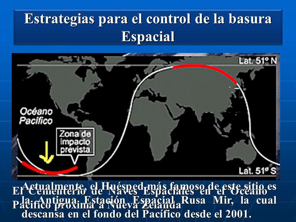 Estrategias para el control de la basura Espacial El Cementerio de Naves Espaciales en el Océano Pacifico próxima a Nueva Zelanda Actualmente, el Hués