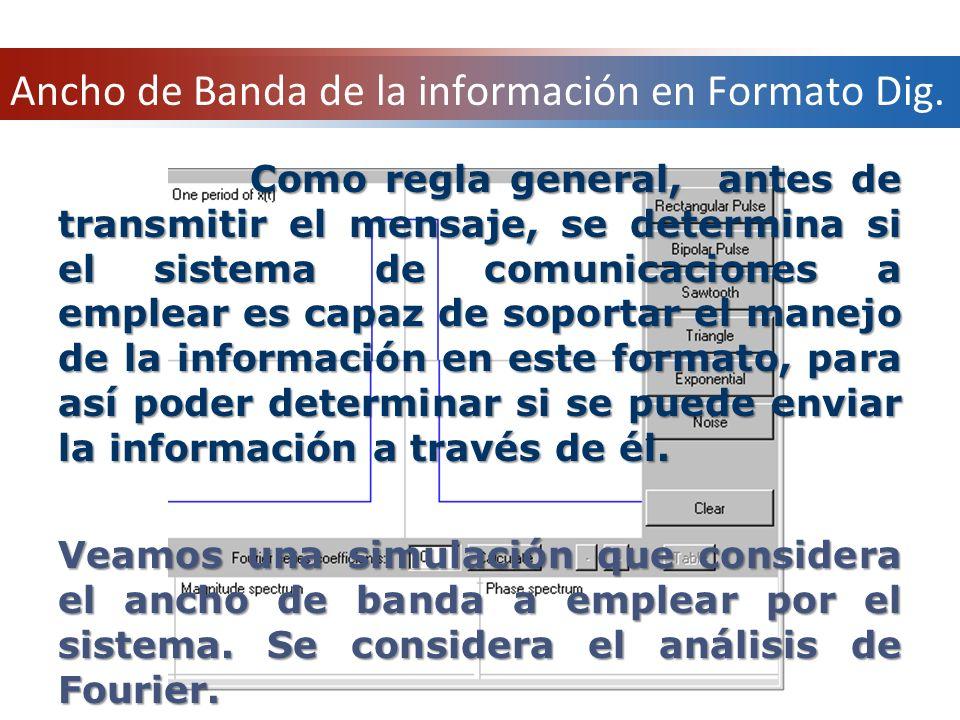 Como regla general, antes de transmitir el mensaje, se determina si el sistema de comunicaciones a emplear es capaz de soportar el manejo de la inform