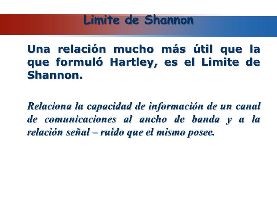 Limite de Shannon Una relación mucho más útil que la que formuló Hartley, es el Limite de Shannon. Relaciona la capacidad de información de un canal d