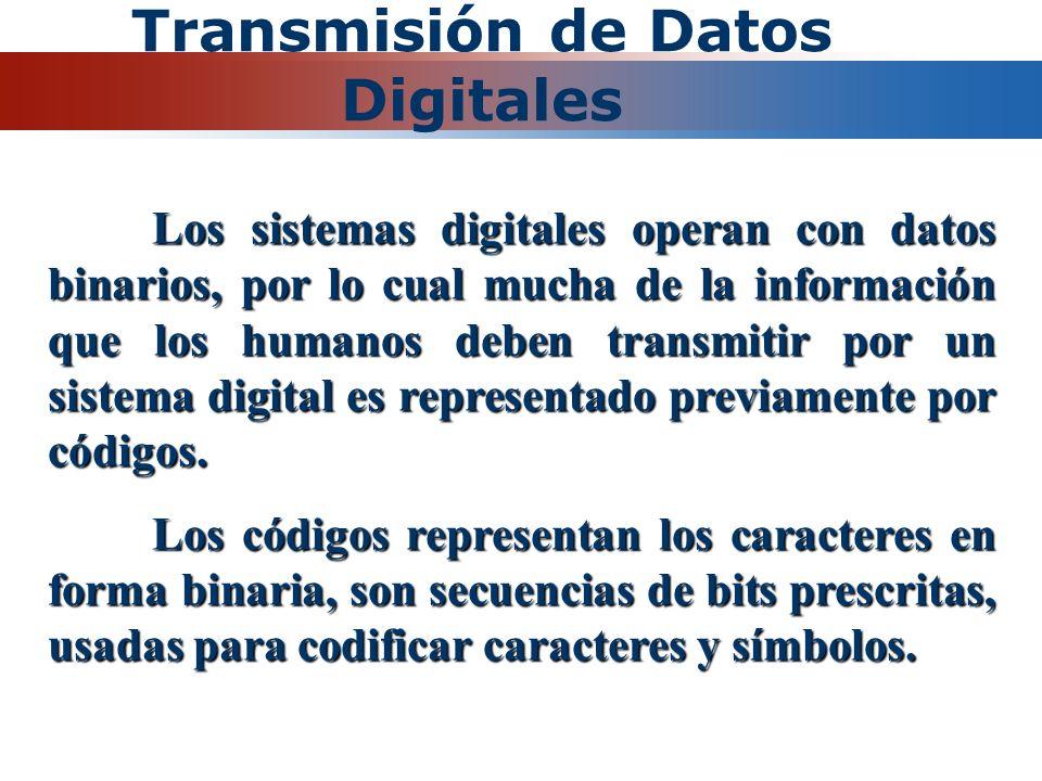 Transmisión de Datos Digitales Los sistemas digitales operan con datos binarios, por lo cual mucha de la información que los humanos deben transmitir