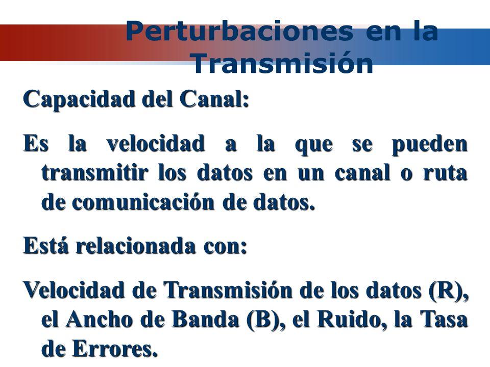 Perturbaciones en la Transmisión Capacidad del Canal: Es la velocidad a la que se pueden transmitir los datos en un canal o ruta de comunicación de da