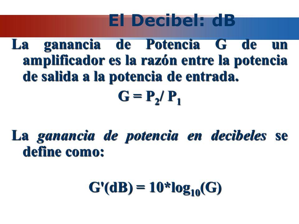 El Decibel: dB La ganancia de Potencia G de un amplificador es la razón entre la potencia de salida a la potencia de entrada. G = P 2 / P 1 La gananci