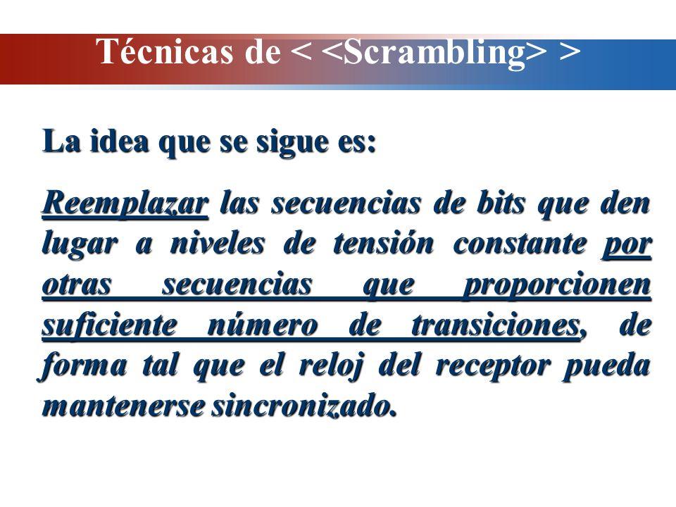 Técnicas de > La idea que se sigue es: Reemplazar las secuencias de bits que den lugar a niveles de tensión constante por otras secuencias que proporc