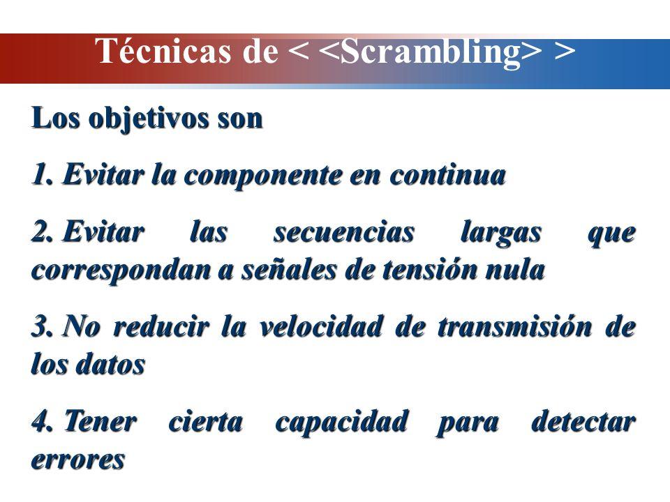 Técnicas de > Los objetivos son 1. Evitar la componente en continua 2. Evitar las secuencias largas que correspondan a señales de tensión nula 3. No r