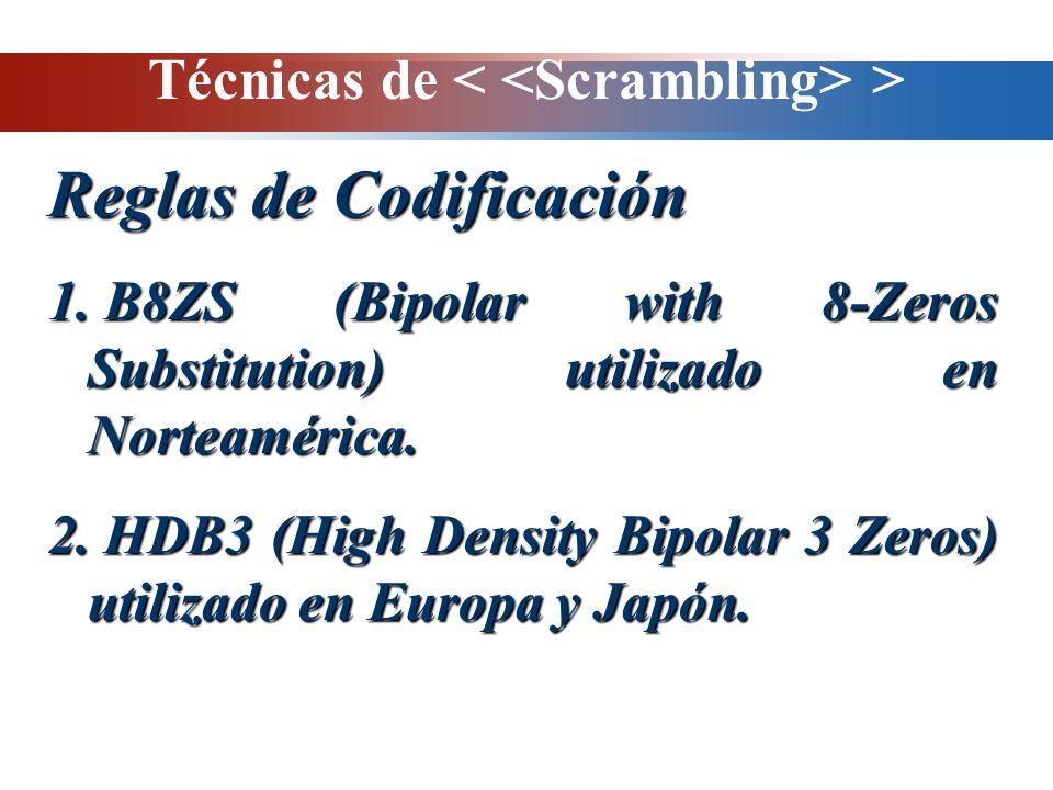 Técnicas de > Reglas de Codificación 1. B8ZS (Bipolar with 8-Zeros Substitution) utilizado en Norteamérica. 2. HDB3 (High Density Bipolar 3 Zeros) uti