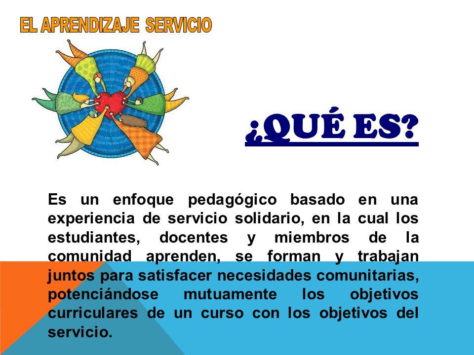 ¿QUÉ ES? Es un enfoque pedagógico basado en una experiencia de servicio solidario, en la cual los estudiantes, docentes y miembros de la comunidad apr