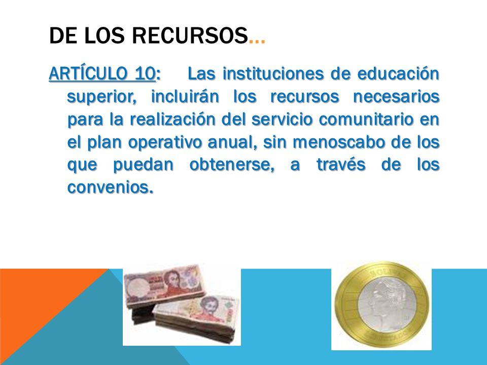 DE LOS RECURSOS… ARTÍCULO 10: Las instituciones de educación superior, incluirán los recursos necesarios para la realización del servicio comunitario