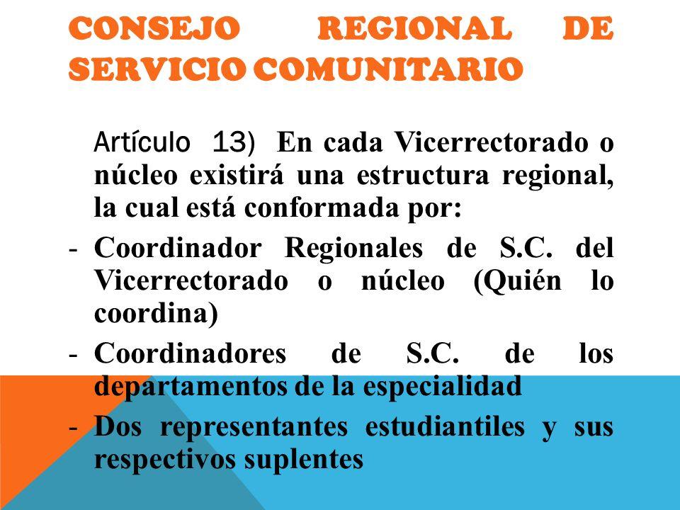 CONSEJO REGIONAL DE SERVICIO COMUNITARIO Artículo 13) En cada Vicerrectorado o núcleo existirá una estructura regional, la cual está conformada por: -