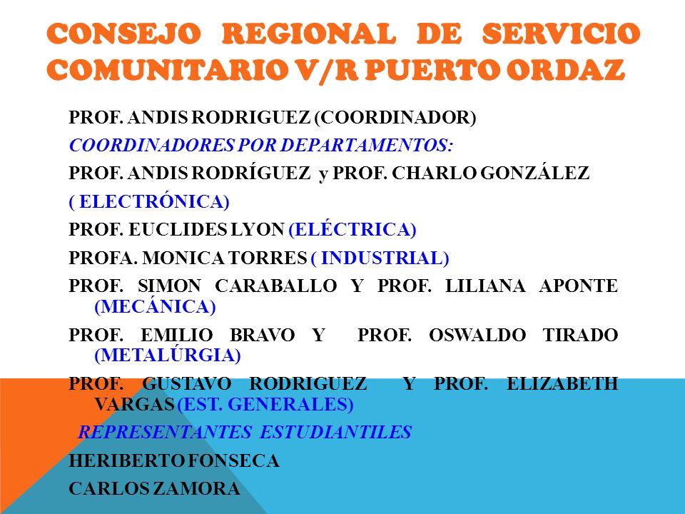 CONSEJO REGIONAL DE SERVICIO COMUNITARIO V/R PUERTO ORDAZ PROF. ANDIS RODRIGUEZ (COORDINADOR) COORDINADORES POR DEPARTAMENTOS: PROF. ANDIS RODRÍGUEZ y