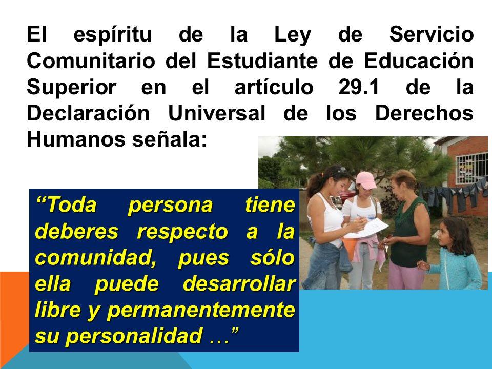 DE LOS DERECHOS DE LOS ESTUDIANTES PRESTADORES DEL SERVICIO COMUNITARIO Artículo 29) son derechos del prestador de Servicio Comunitario: a)Obtener información oportuna sobre los proyectos comunitarios aprobados en la UNEXPO.