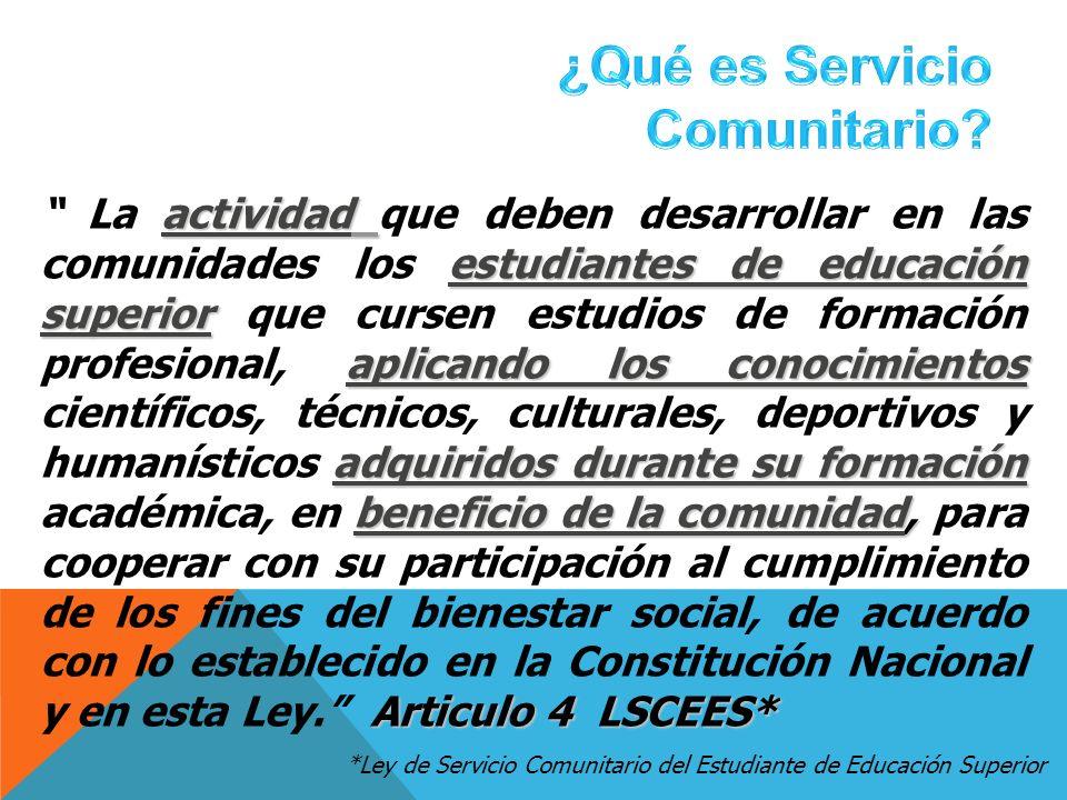 actividad estudiantes de educación superior aplicando los conocimientos adquiridos durante su formación beneficio de la comunidad, Articulo 4 LSCEES*