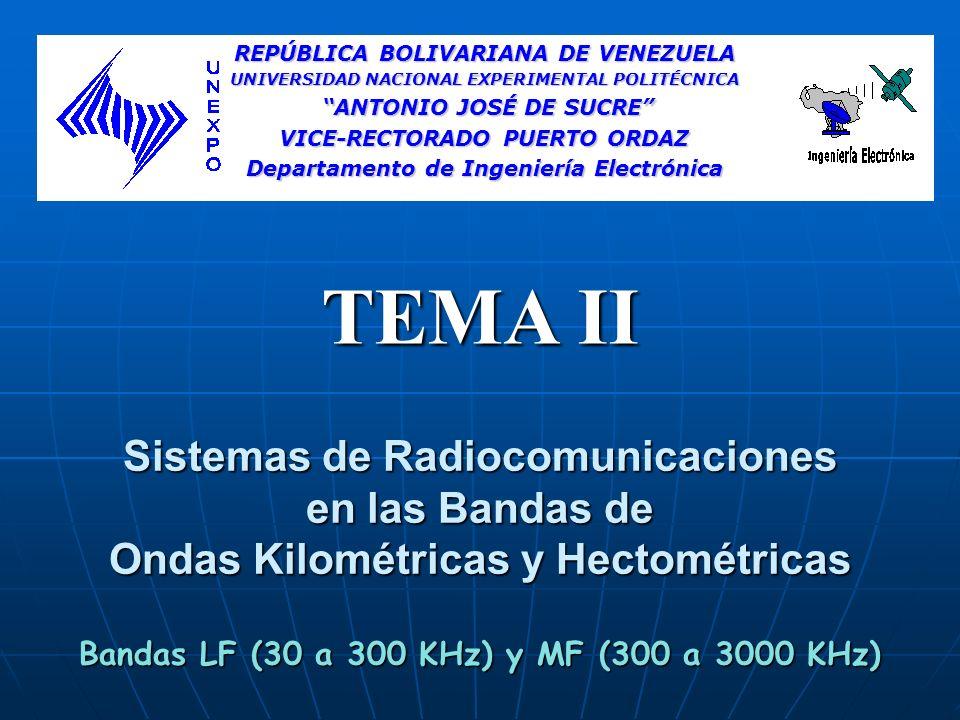 Sumario 1.Consideraciones generales 2.Características de las Ondas kilométricas y hectométricas 3.Servicios que brindan los Sistemas de LF y MF 4.Aplicaciones 5.Descripción de los Servicios de Comunicaciones de ondas Kilométricas y Hectométricas 6.Propagación de las ondas Kilométricas y Hectométricas 7.Regulación