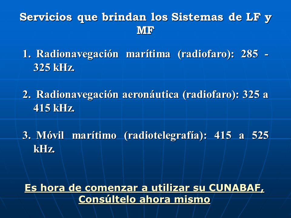 Servicios que brindan los Sistemas de LF y MF 1. Radionavegación marítima (radiofaro): 285 - 325 kHz. 2. Radionavegación aeronáutica (radiofaro): 325