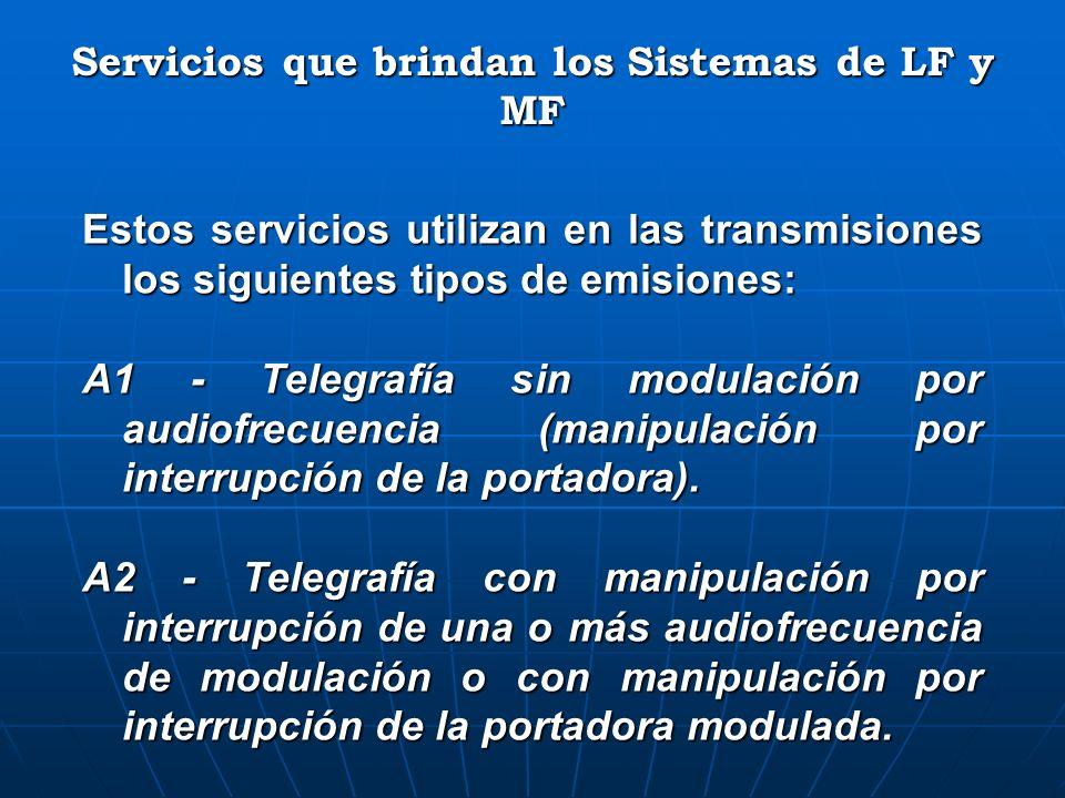 Estos servicios utilizan en las transmisiones los siguientes tipos de emisiones: A1 - Telegrafía sin modulación por audiofrecuencia (manipulación por