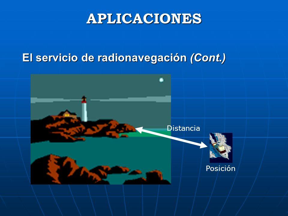 El servicio de radionavegación (Cont.) APLICACIONES Distancia Posición