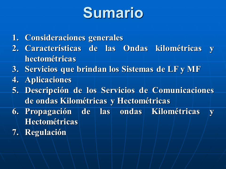 Sumario 1.Consideraciones generales 2.Características de las Ondas kilométricas y hectométricas 3.Servicios que brindan los Sistemas de LF y MF 4.Apli