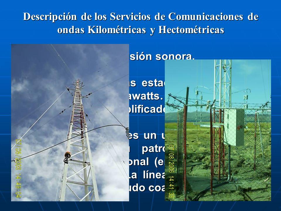 Descripción de los Servicios de Comunicaciones de ondas Kilométricas y Hectométricas Servicio de radiodifusión sonora. La potencia de estas estaciones