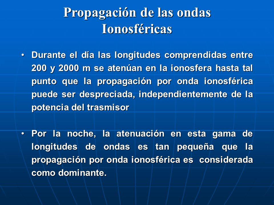 Propagación de las ondas Ionosféricas Durante el día las longitudes comprendidas entre 200 y 2000 m se atenúan en la ionosfera hasta tal punto que la