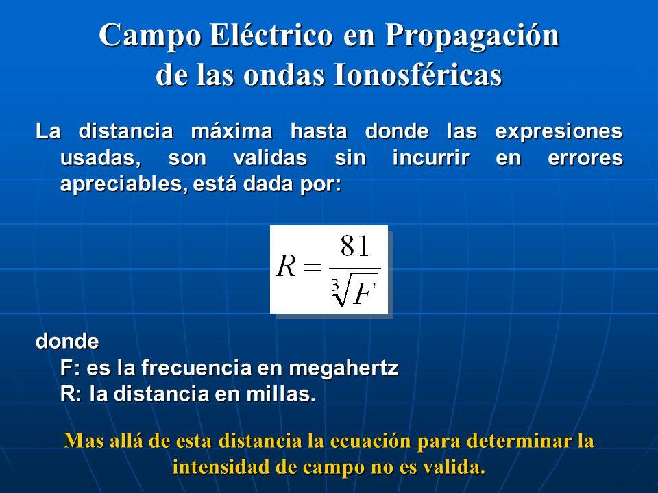 La distancia máxima hasta donde las expresiones usadas, son validas sin incurrir en errores apreciables, está dada por: donde F: es la frecuencia en m