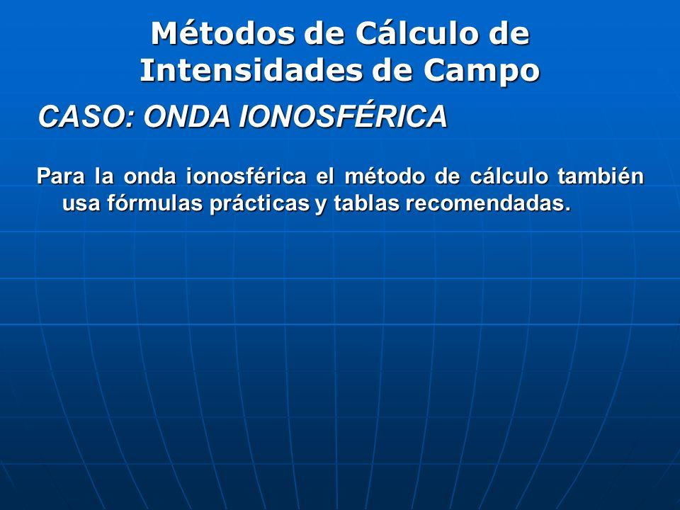 CASO: ONDA IONOSFÉRICA Para la onda ionosférica el método de cálculo también usa fórmulas prácticas y tablas recomendadas. Métodos de Cálculo de Inten
