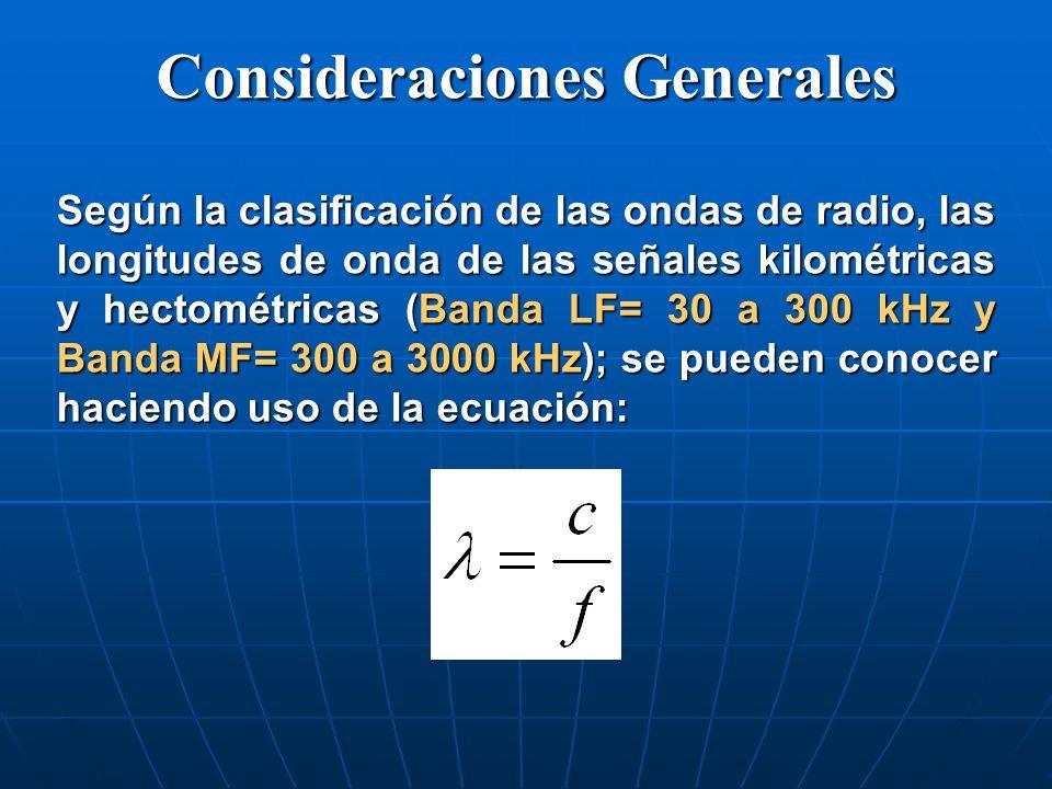 Servicio de Radionavegación (Cont.) La potencia de las transmisiones utilizadas en los radiofaros es del orden de los cientos de Watt.