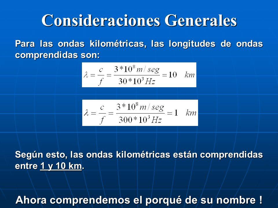Consideraciones Generales Para las ondas kilométricas, las longitudes de ondas comprendidas son: Según esto, las ondas kilométricas están comprendidas