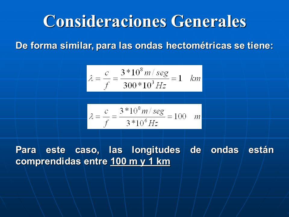 De forma similar, para las ondas hectométricas se tiene: Para este caso, las longitudes de ondas están comprendidas entre 100 m y 1 km Consideraciones
