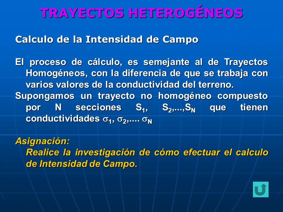 TRAYECTOS HETEROGÉNEOS Calculo de la Intensidad de Campo El proceso de cálculo, es semejante al de Trayectos Homogéneos, con la diferencia de que se t