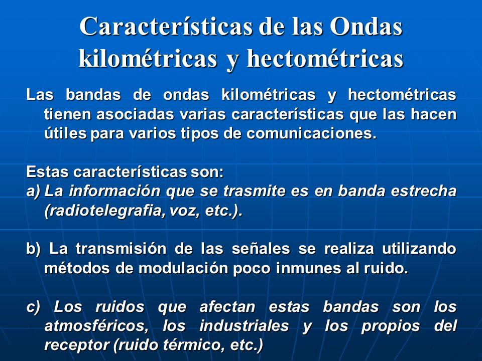 Características de las Ondas kilométricas y hectométricas Las bandas de ondas kilométricas y hectométricas tienen asociadas varias características que