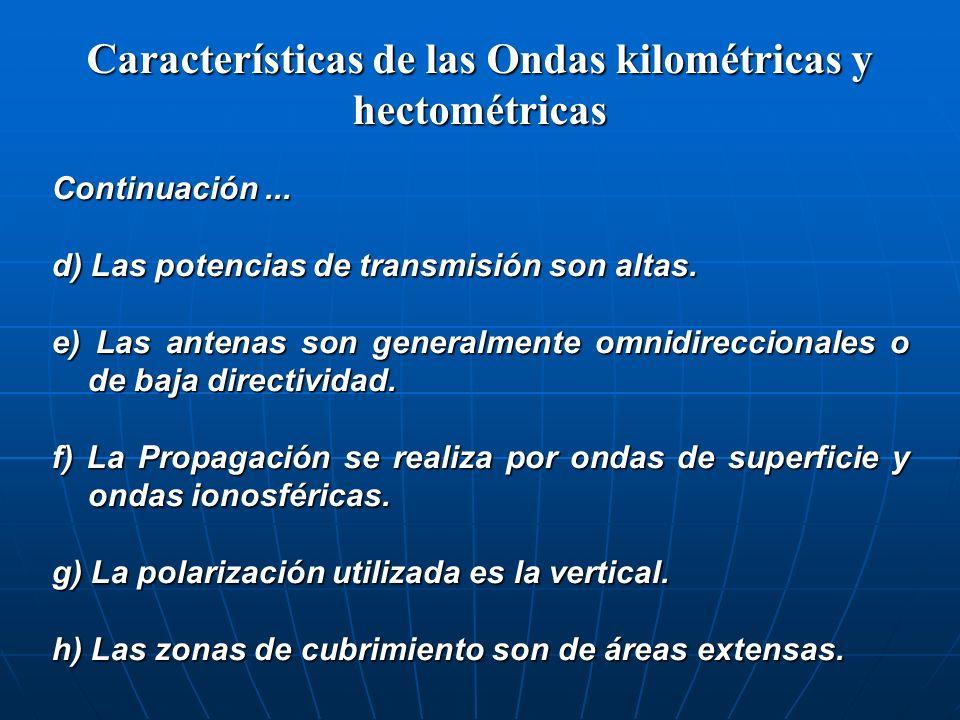 Características de las Ondas kilométricas y hectométricas Continuación... d) Las potencias de transmisión son altas. e) Las antenas son generalmente o