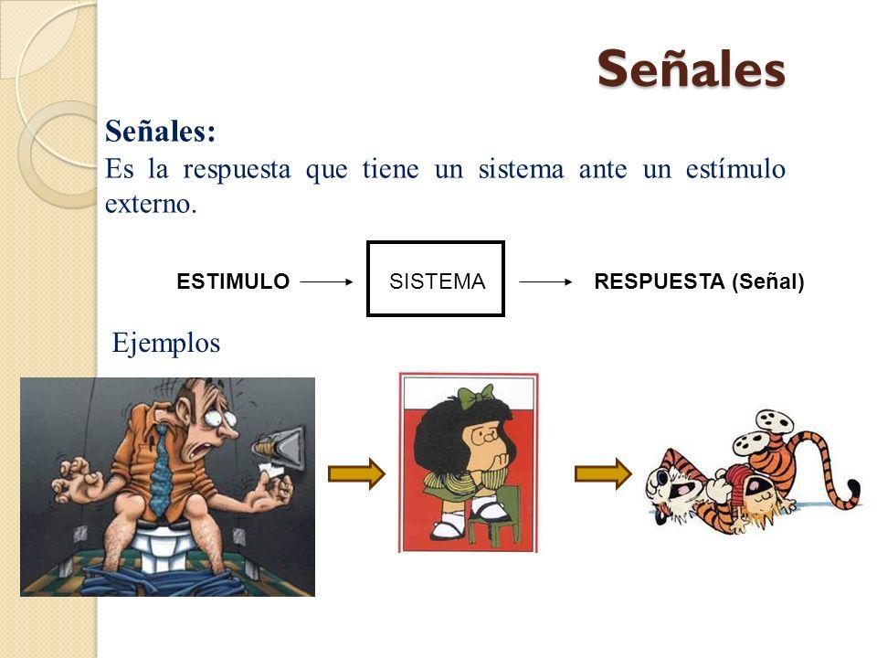 Ejemplo de Señales SISTEMA ESTIMULO RESPUESTA (Señal)