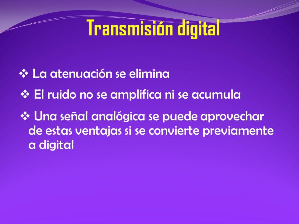La atenuación se elimina Transmisión digital El ruido no se amplifica ni se acumula Una señal analógica se puede aprovechar de estas ventajas si se co