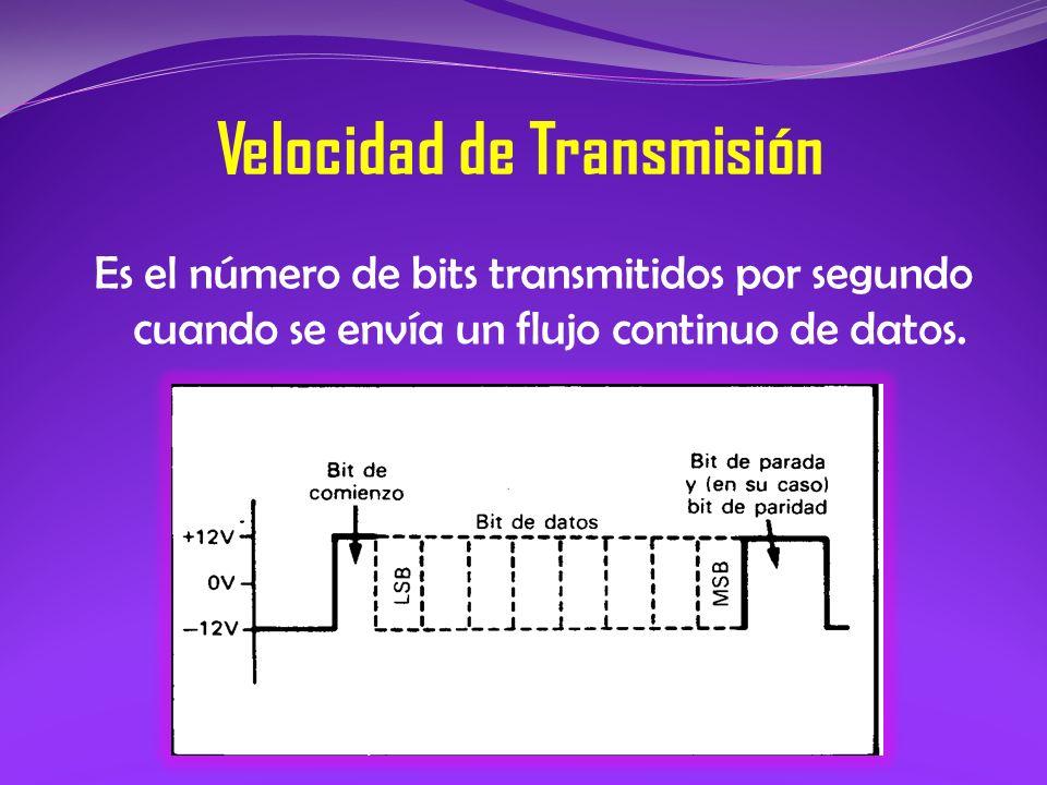 Velocidad de Transmisión Es el número de bits transmitidos por segundo cuando se envía un flujo continuo de datos.