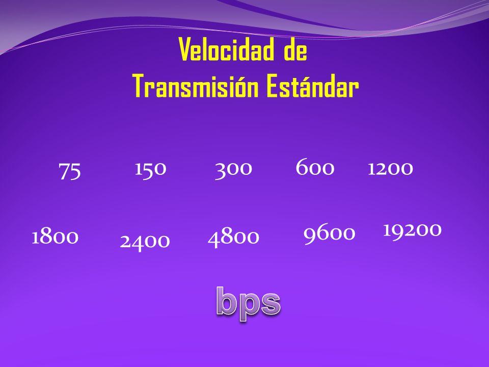 Velocidad de Transmisión Estándar 75 1800 1200600300150 2400 4800 9600 19200