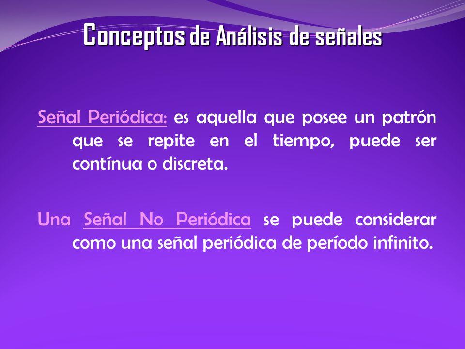 Señal Periódica: es aquella que posee un patrón que se repite en el tiempo, puede ser contínua o discreta. Una Señal No Periódica se puede considerar