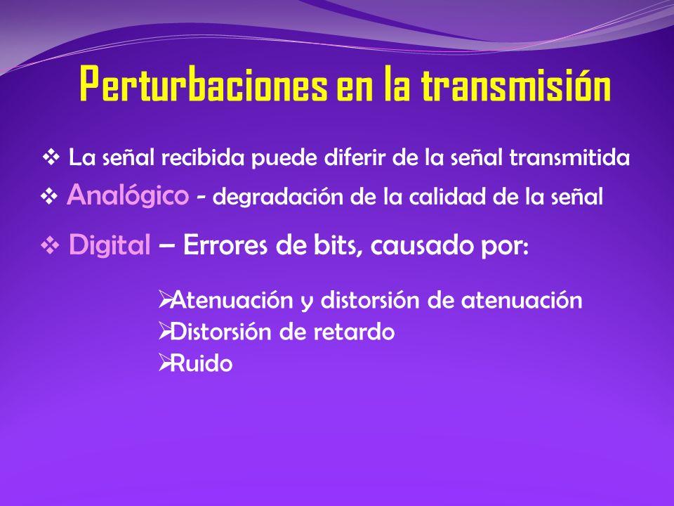 La señal recibida puede diferir de la señal transmitida Perturbaciones en la transmisión Analógico - degradación de la calidad de la señal Digital – E