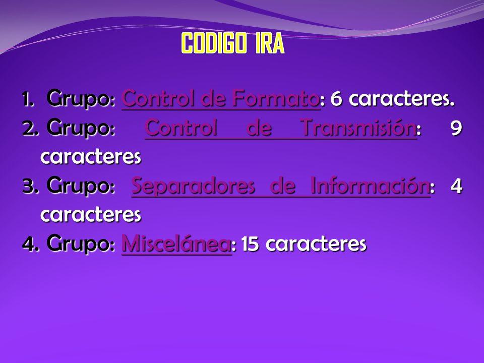 1. Grupo: Control de Formato: 6 caracteres. Control de FormatoControl de Formato 2. Grupo: Control de Transmisión: 9 caracteres Control de Transmisión
