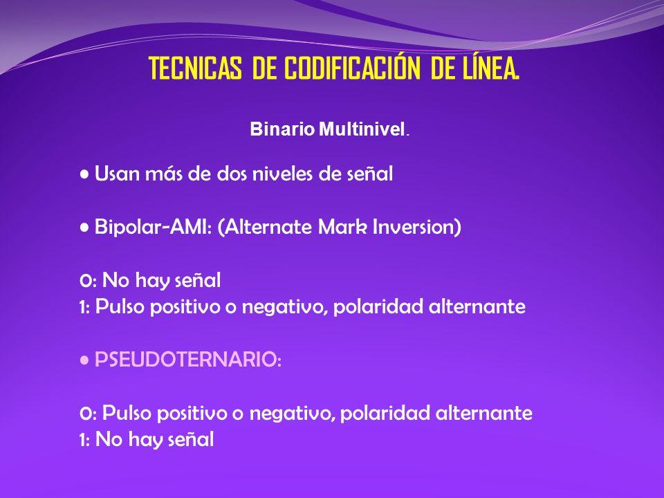 Binario Multinivel. Usan más de dos niveles de señal Bipolar-AMI: (Alternate Mark Inversion) 0: No hay señal 1: Pulso positivo o negativo, polaridad a