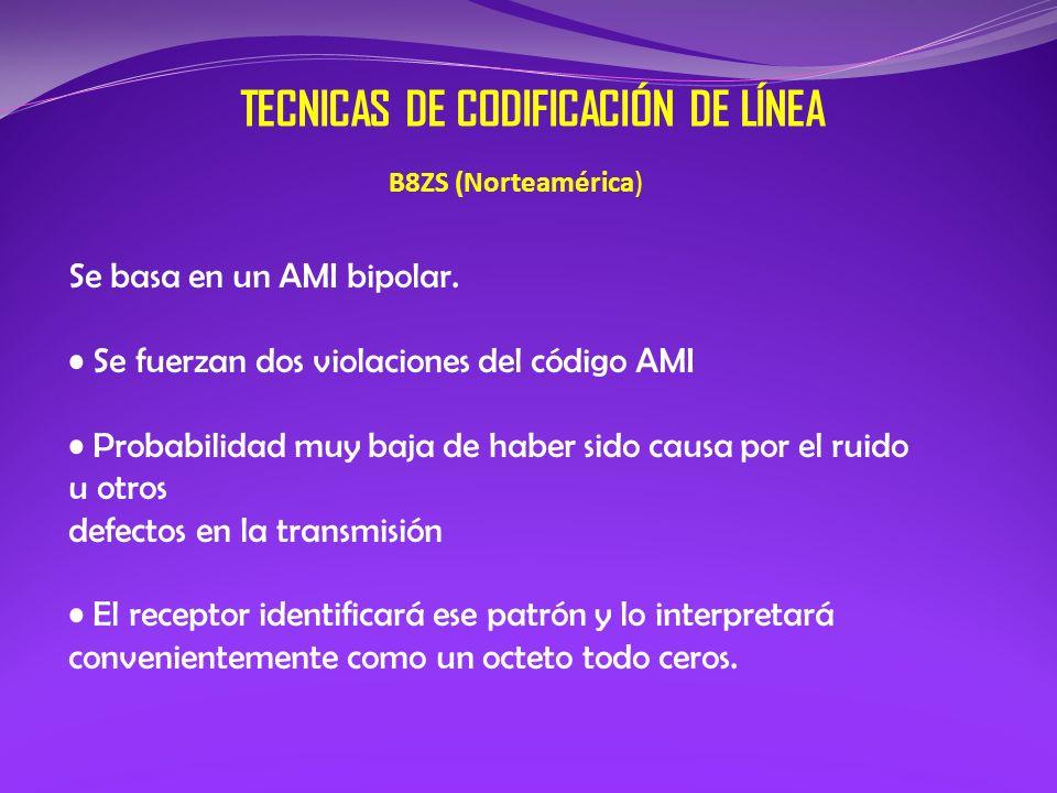 TECNICAS DE CODIFICACIÓN DE LÍNEA B8ZS (Norteamérica) Se basa en un AMI bipolar. Se fuerzan dos violaciones del código AMI Probabilidad muy baja de ha