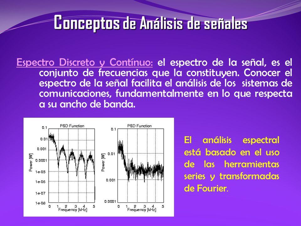 Espectro Discreto y Contínuo: el espectro de la señal, es el conjunto de frecuencias que la constituyen. Conocer el espectro de la señal facilita el a