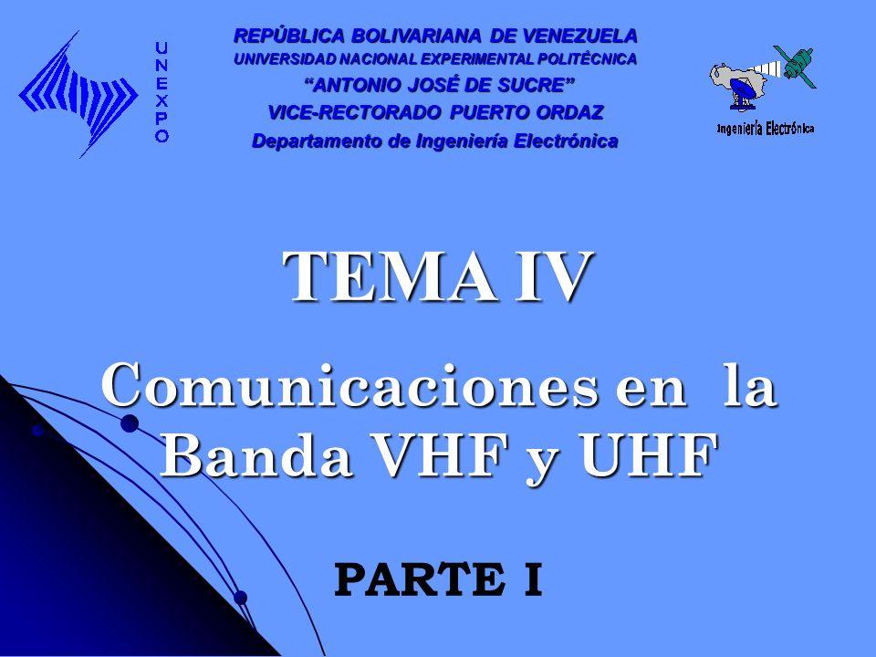 Comunicaciones en la Banda VHF y UHF REPÚBLICA BOLIVARIANA DE VENEZUELA UNIVERSIDAD NACIONAL EXPERIMENTAL POLITÉCNICA ANTONIO JOSÉ DE SUCRE ANTONIO JO